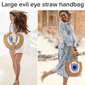 🆕 Evil Eye Jute Day Bag / Beach Tote